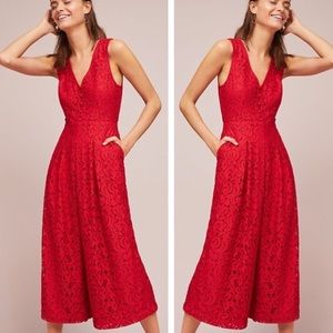 Anthropologie Red Lace Wide Leg Jumpsuit